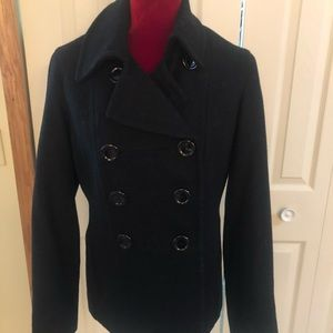 🎊🎉BLACK DBL BREASTED WOOL PEA COAT